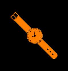 watch sign orange icon on black vector image vector image