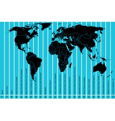 World map and time zones vector image