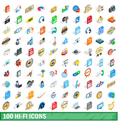 100 hi-fi icons set isometric 3d style vector image