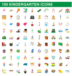 100 kindergarten icons set cartoon style vector image vector image