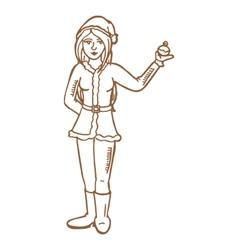 female wearing Santa costume vector image vector image