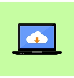 Flat style laptop with cloud downloading vector image