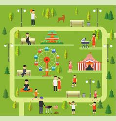 leisure in nature in a public park vector image vector image