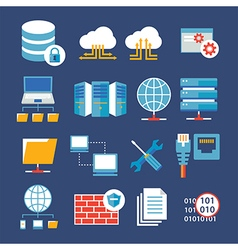 computer network and database flat icon vector image