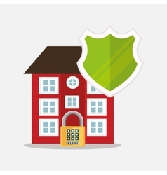 home security protection shield padlock vector image