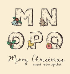 retro christmas alphabet - n m o p q vector image