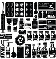 Set of medicament symbols vector image vector image