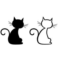Silhouette kitten vector image
