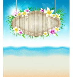 Summer tropical background with flowers vector image vector image