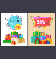 super price fifty percent off promo poster package vector image