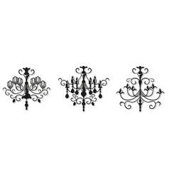 Vintage elegant chandelier set luxury vector