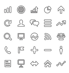 25 outline universal analytics research icons vector image