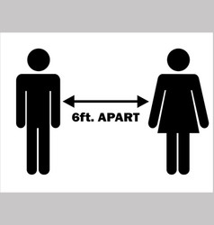 6 ft apart man woman stick figure pictograph vector
