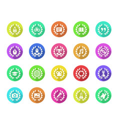 Achievements icon set in flat with shadow style vector