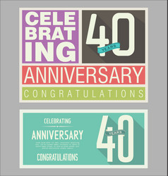 Anniversary retro background 40 years vector