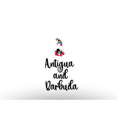 antigua and barbuda country big text with flag vector image