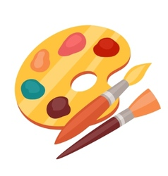 Art color palette with paints and brushes vector image