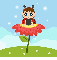 Baby dressed as ladybug on the flower vector