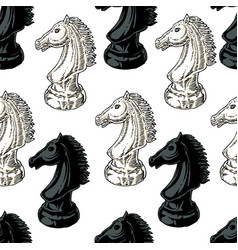 black and white chessman knight seamless pattern vector image