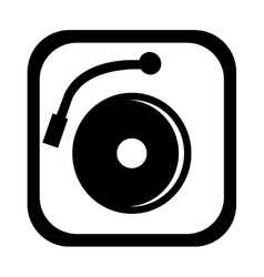 Black and white dj turntable graphic vector