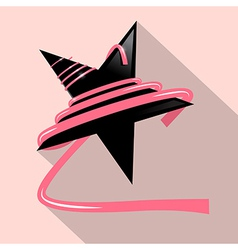 Black Star with Pink Ribbon vector