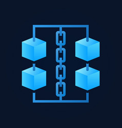 Blue cubes with chain icon - blockchain vector