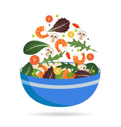 bowl fresh mix salad leaves vegetables and vector image
