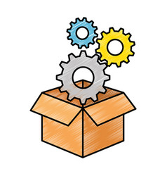 Box with gears machine vector