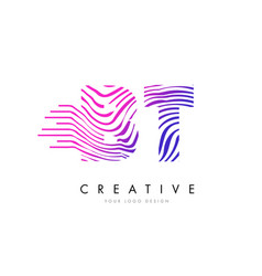 Bt b t zebra lines letter logo design with vector