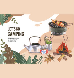 Camping frame design with kettle canned food vector