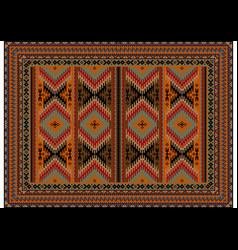 Carpet in zigzag stripes red yellow brown vector