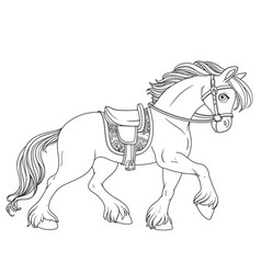 Cartoon horse harnessed in harness runs forward vector