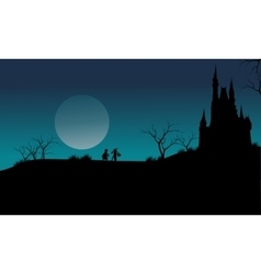 Castle and witch Halloween scary vector