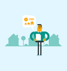 Caucasian man reading real estate advertisement vector