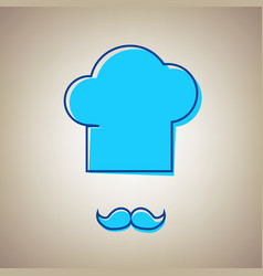 chef hat and moustache sign sky blue icon vector image