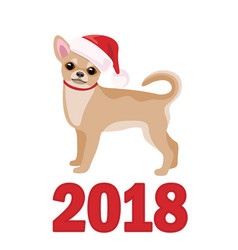 Chihuahua in santa claus hat vector
