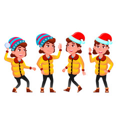 Christmas girl poses set winter neww year vector