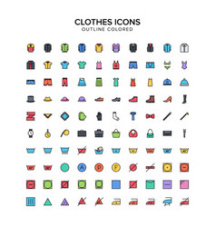 clothes outline colored icons vector image