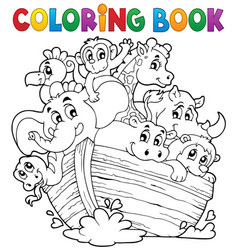 Coloring book noahs ark theme 1 vector