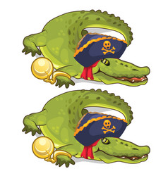 Crocodile in gold chains and in pirate hat vector