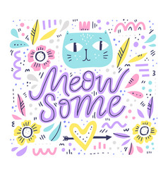 cute cat hand drawn color vector image