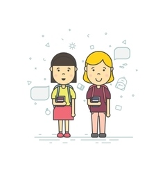 Cute pupils students vector image