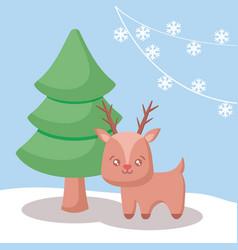 cute reindeer with tree christmas vector image