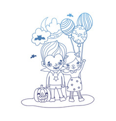 Degraded outline girl and boy costumes with vector