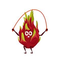 dragon fruit pitaya healthy food fitness cartoon vector image