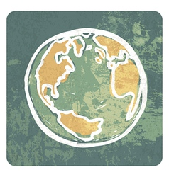 Earth grunge icon vector image