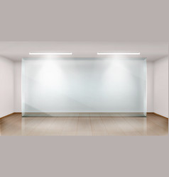 Empty exhibition room with glass wall frame vector