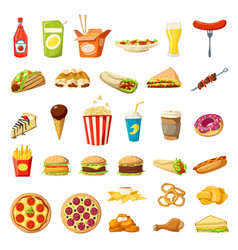 Fast food icons isolated burgers sandwiches vector