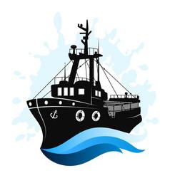 Fishing ship at sea vector
