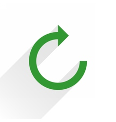 Flat green arrow icon rotation sign on white vector